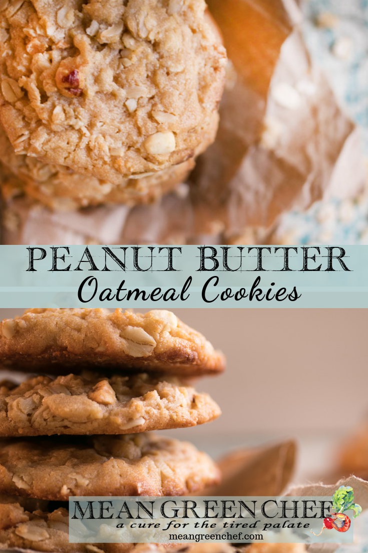 Peanut Butter Oatmeal Cookies stacked from Mean Green Chef