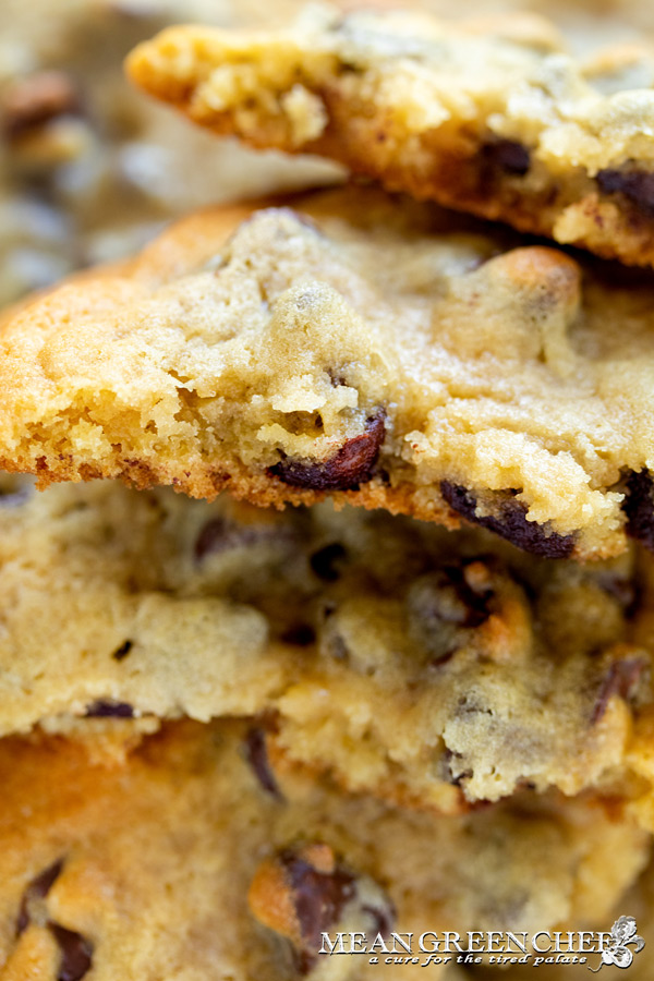 Bakery Style Chocolate Chip Cookies close up