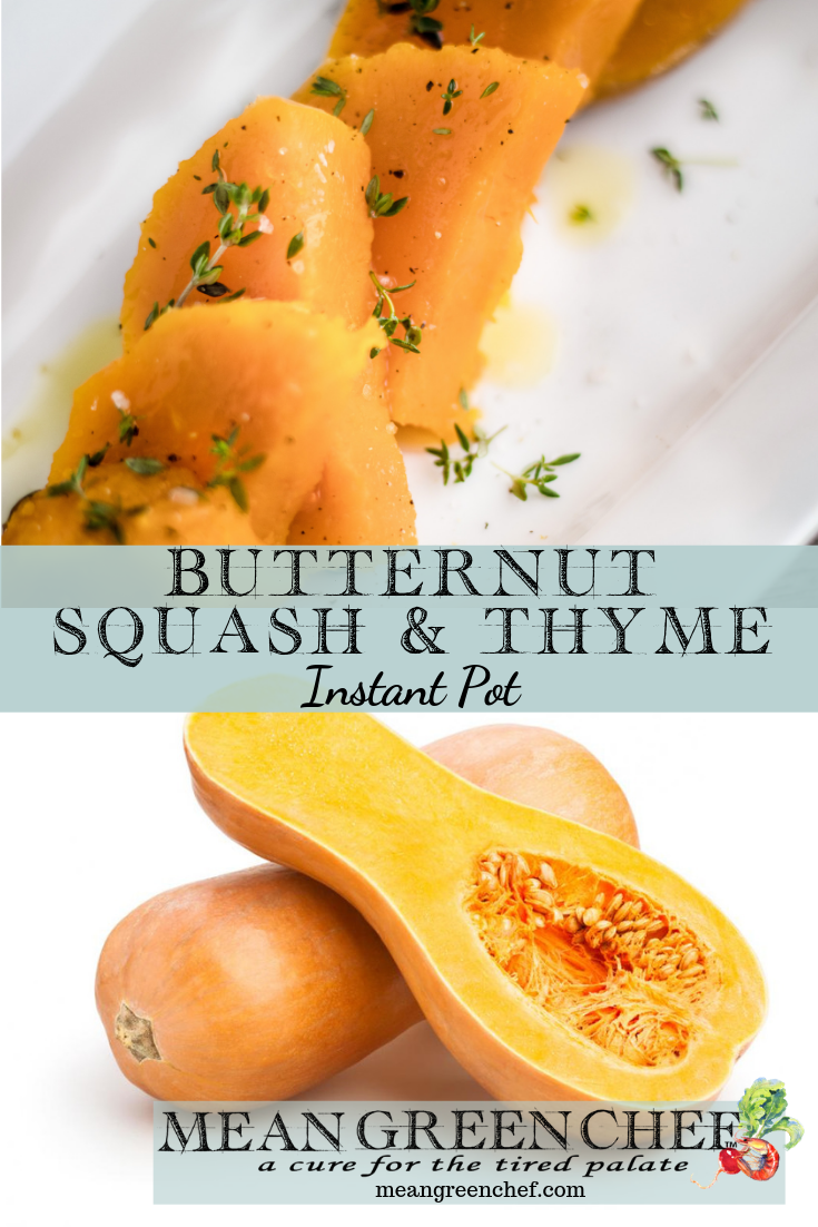 Butternut Squash and Thyme shown on a white platter and whole