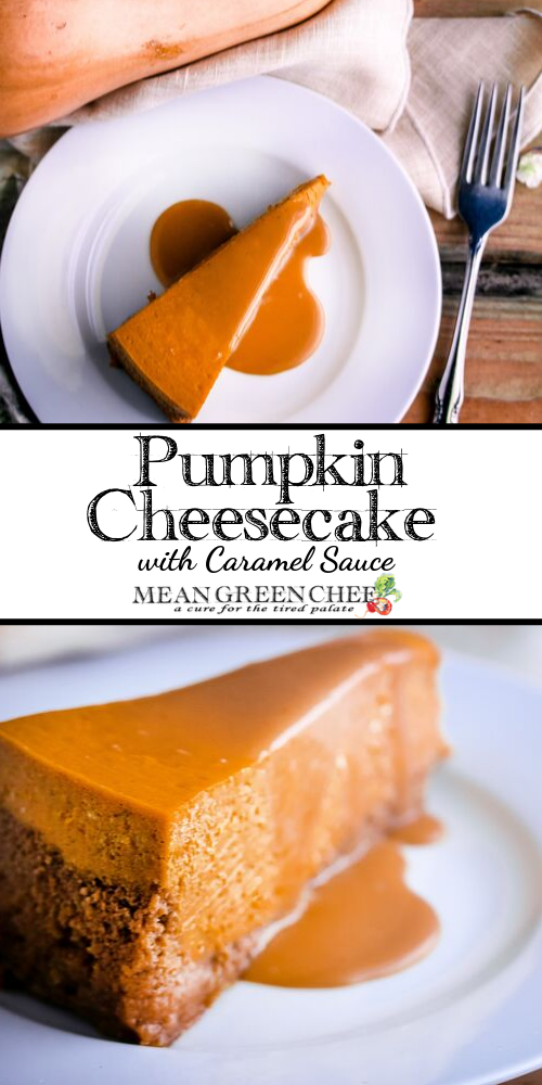 Pumpkin Cheesecake on a white plate and wooden background