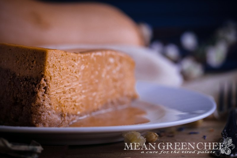 Pumpkin Spice Cheesecake with Caramel Sauce Recipe side view
