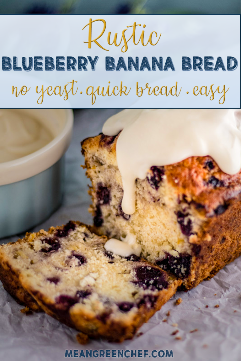 sliced blueberry banana bread with icing.