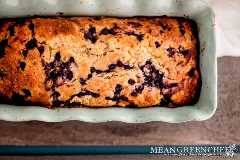 Blueberry Banana Bread in a blue loaf pan