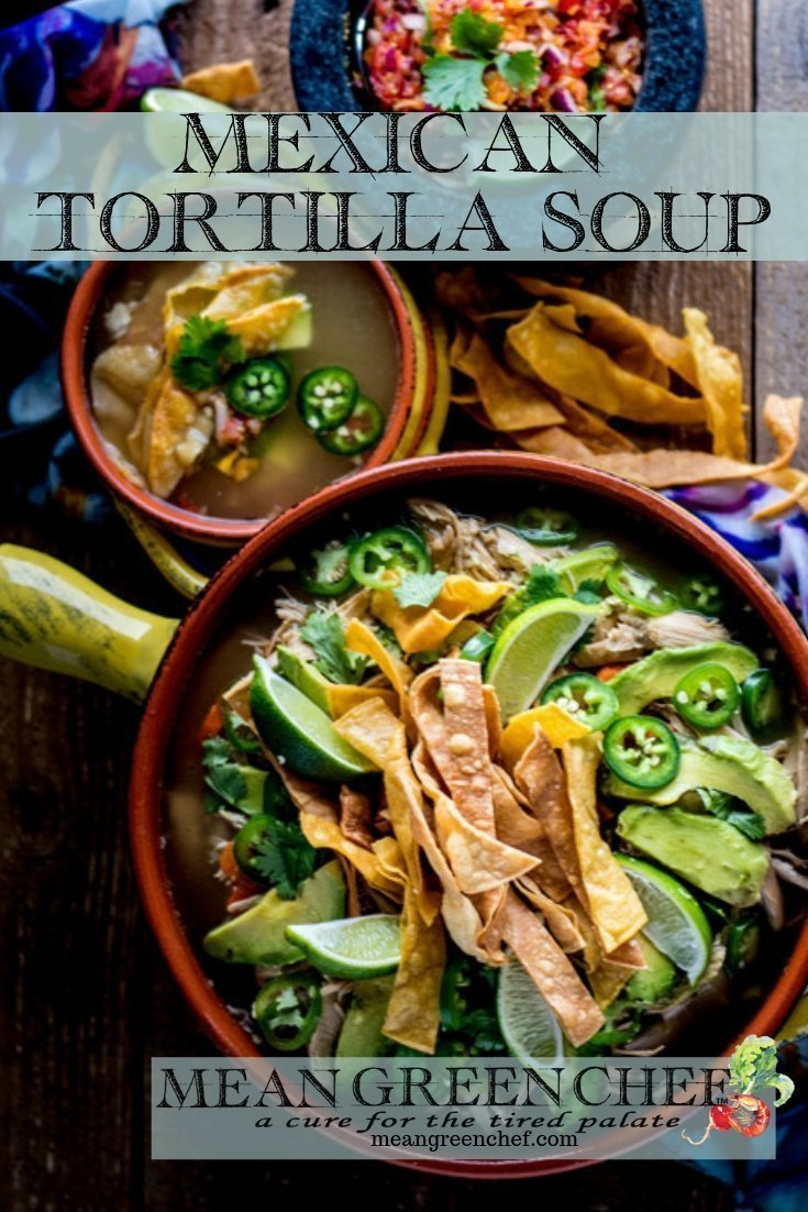 Overhead photo of Mexican Tortilla Chicken Soup Recipe overhead shot