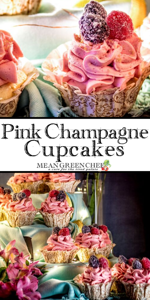 Pink Champagne Cupcakes with raspberry buttercream icing.