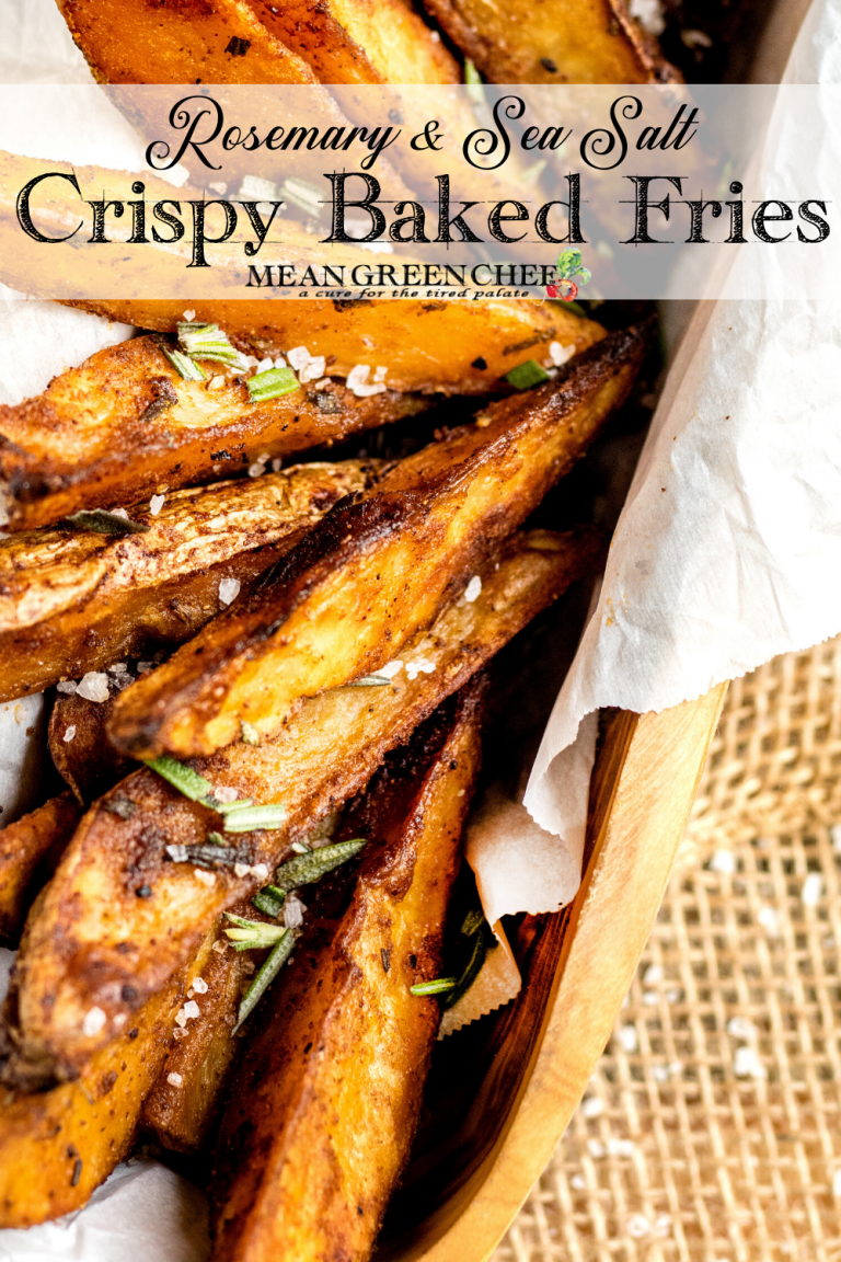 Crispy Oven Baked Fries in a wooden vessel with parchment paper.