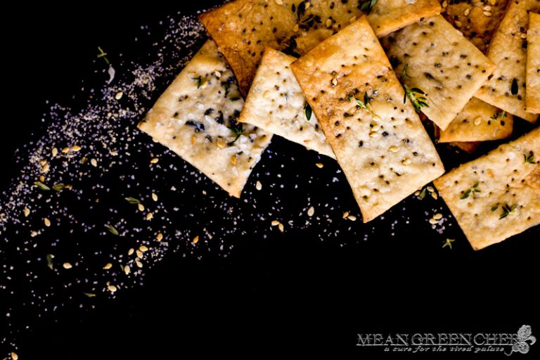 Herbed Crackers on a black background.