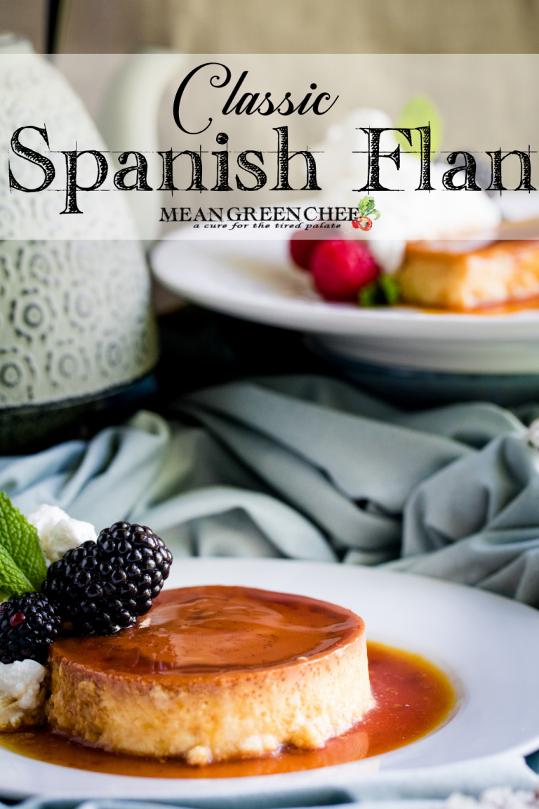 Classic Flan plated and garnished with fresh berries.