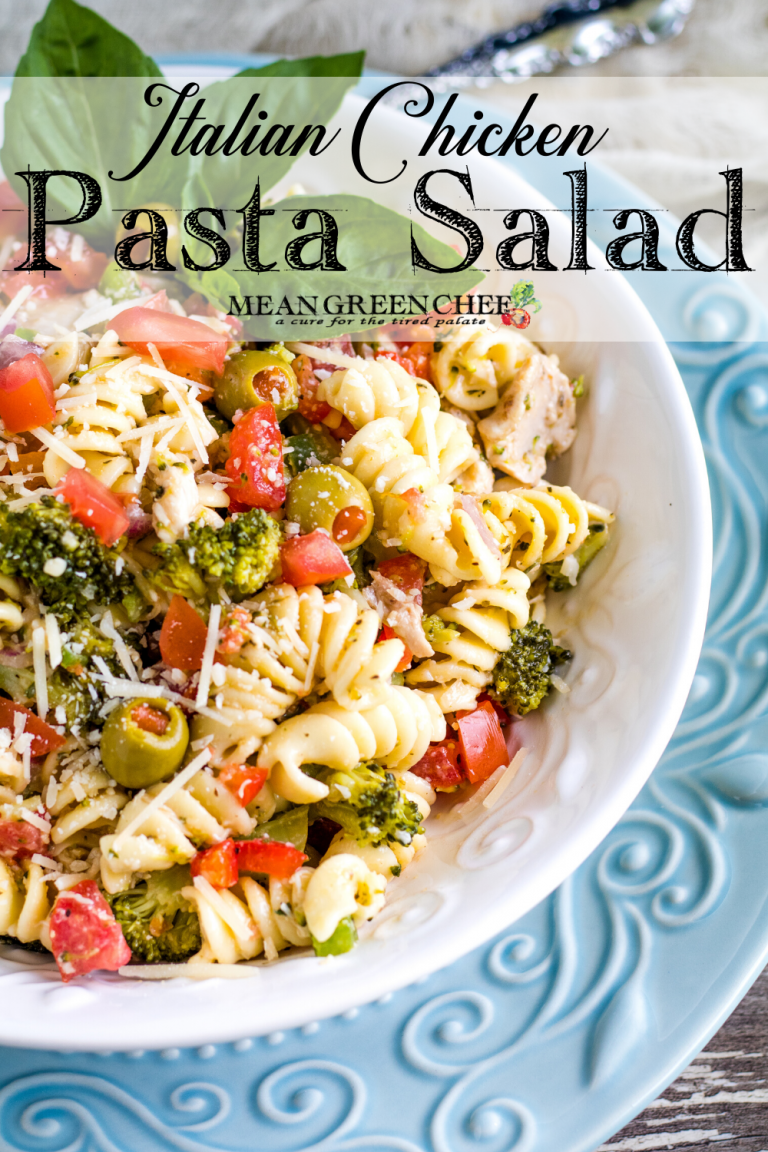 Italian Chicken Pasta Salad in a white bowl