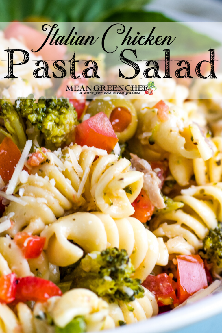 Close up of Italian Chicken Pasta Salad in a white bowl