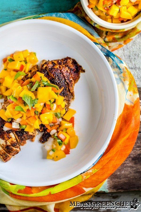 Blackened Chicken topped with Fresh mango Salsa