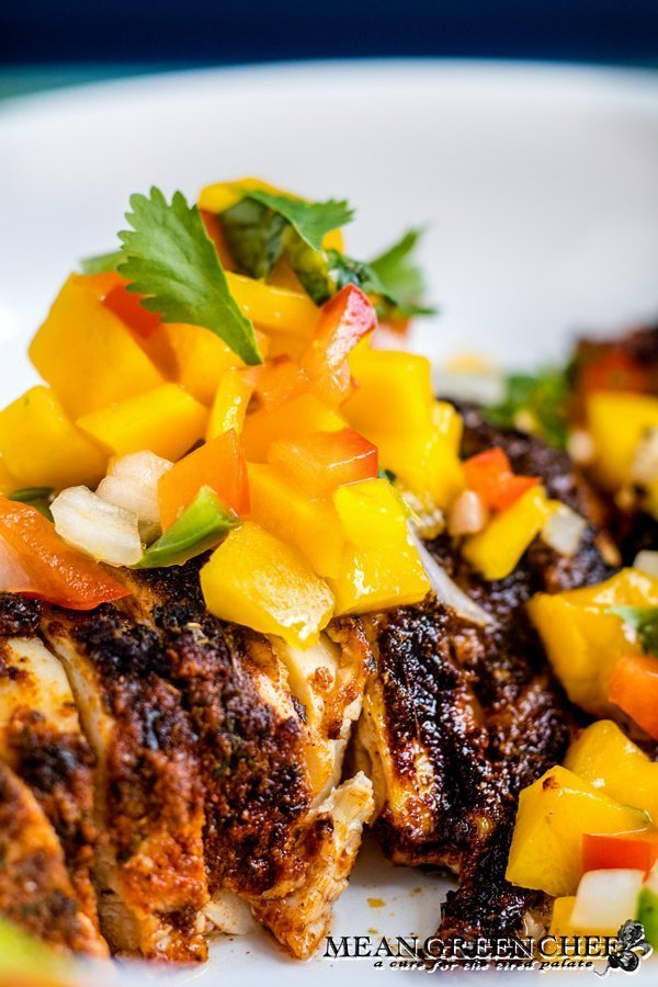 Blackened Chicken topped with Fresh mango Salsa