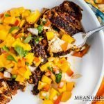 Blackened Chicken with Mango Salsa in a white bowl.