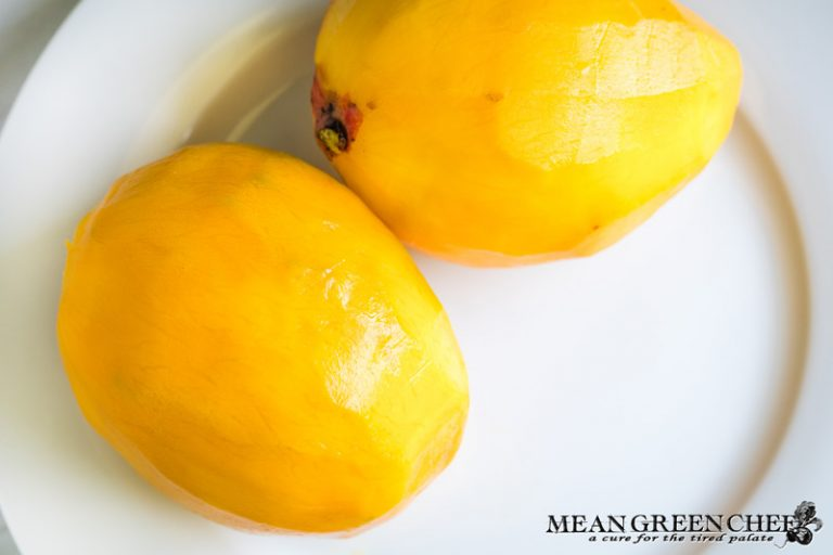 Peeled mangoes for fresh mango salsa.