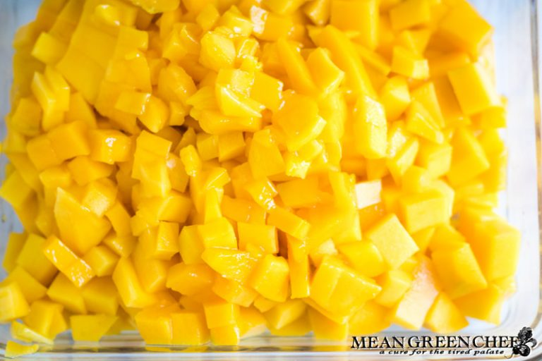 Diced Mangoes for Fresh Mango Salsa.