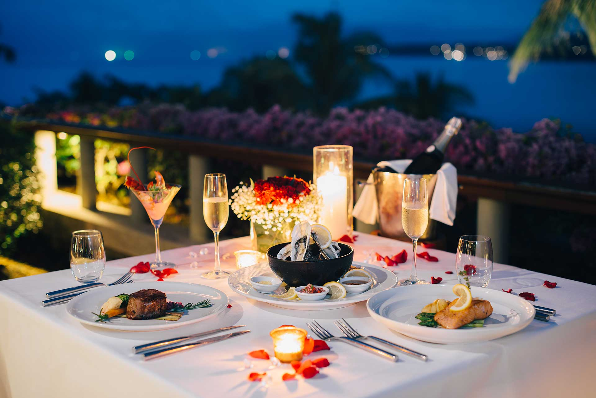 Romantic Table Setting for 2 on the Gulfside