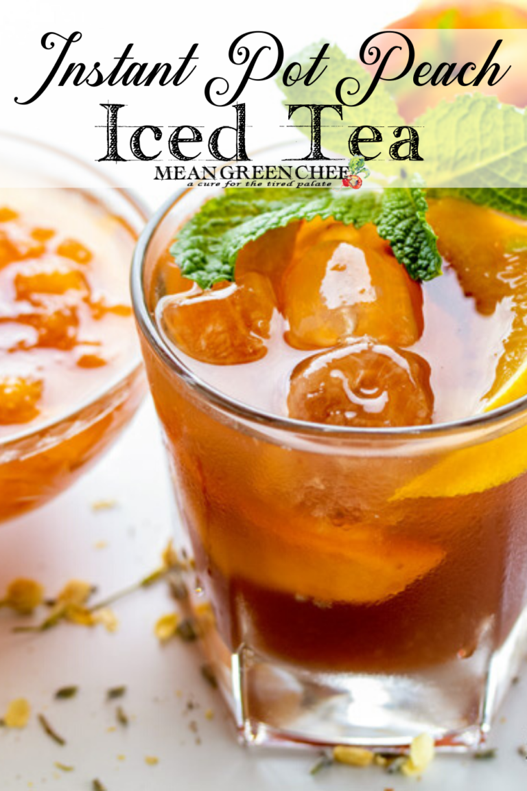 Instant Pot Peach Iced Tea in a cold glass garnished with fresh mint and peaches.